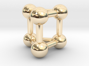0447 Triangular Prism (a=1сm) #003 in 14k Gold Plated Brass