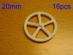 20mm wheels, 16pcs in White Natural Versatile Plastic