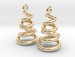 Phased Spiral Earrings in 14k Gold Plated Brass