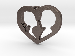 Two in Love Pendant - Amour Collection in Polished Bronzed Silver Steel