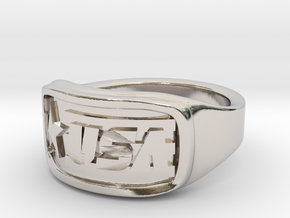 Ring USA 52mm in Rhodium Plated Brass