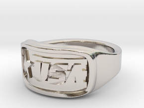 Ring USA 55mm in Rhodium Plated Brass