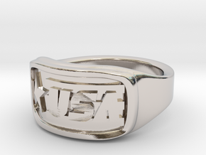 Ring USA 61mm in Rhodium Plated Brass