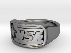 Ring USA 65mm in Fine Detail Polished Silver