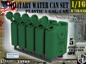 1-16 Military Water Can 5 Units in Green Strong & Flexible Polished