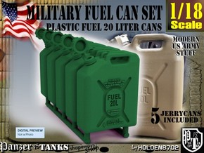 1-18 Military Fuel Can 5 Units in Green Processed Versatile Plastic