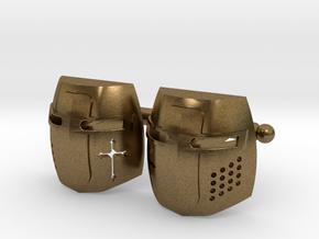 Knight Helmet Cufflinks in Natural Bronze