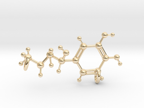 Adrenaline Molecule Pendant in 14k Gold Plated Brass
