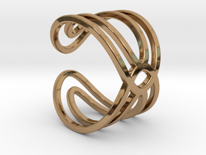 Geometri-K waves ring size 6 Small medium in Polished Brass