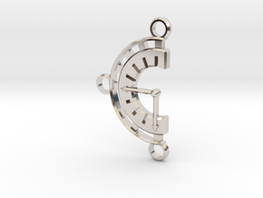 Chrono Clock Pendant or Keychain in Rhodium Plated Brass