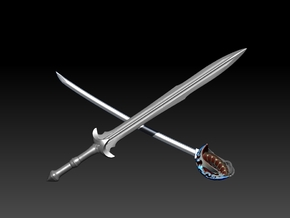 FATHERS SWORD in Polished Bronzed Silver Steel