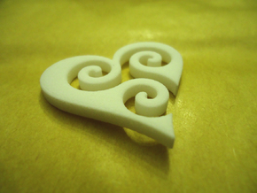 Trisk Heart in White Natural Versatile Plastic
