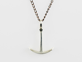 Anchor Necklace - Flat in Polished Silver