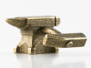 Anvil Cufflinks in Polished Bronzed Silver Steel