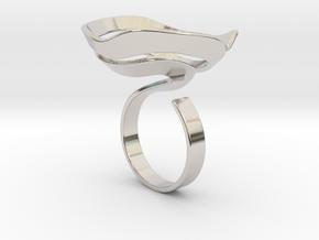 Swirl ring - size 7 in Rhodium Plated Brass