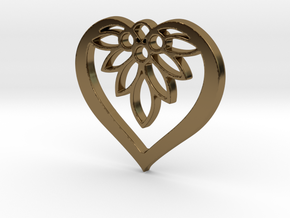Flower of my Heart Pendant - Amour Collection in Polished Bronze