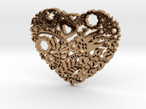 Two Birds in a Heart's Garden - Amour  in Polished Brass