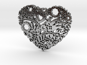 Two Birds in a Heart's Garden - Amour  in Polished Silver