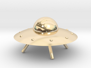 UFO with Landing Gear in 14K Yellow Gold