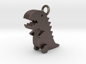 Little Dinosaur Pendant in Polished Bronzed Silver Steel