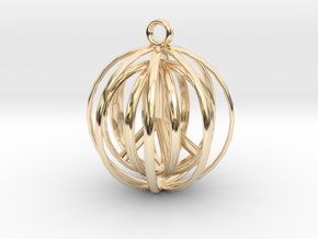 3D  Peace In A Protective Shield Pendant/Key Chain in 14K Yellow Gold