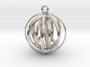 3D  Peace In A Protective Shield Pendant/Key Chain in Rhodium Plated Brass