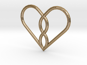 Infinity Heart Pendant in Polished Gold Steel