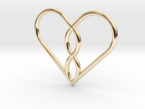 Infinity Heart Pendant in 14k Gold Plated Brass