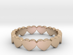 Pandora Style Hearts Ring - Size 7 in 14k Rose Gold Plated Brass