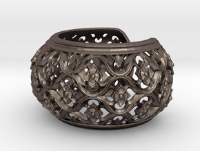 Gothic Bangle in Polished Bronzed Silver Steel