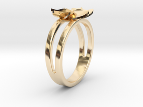 Flower Ring Size 5 in 14k Gold Plated Brass