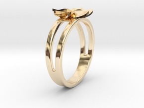 Flower Ring Size 6.5 in 14K Yellow Gold