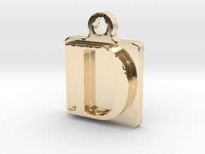 D letter pendant in 14K Yellow Gold