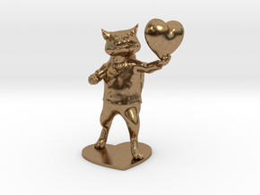 Valentines Day Cat holding Heart in Natural Brass