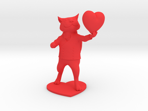Valentines Day Cat holding Heart in Red Processed Versatile Plastic