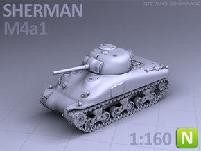 SHERMAN M4A1  (N scale) in Smooth Fine Detail Plastic