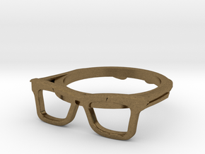 Hipster Glasses Ring Origin Size 10 (size 6-10) in Natural Bronze