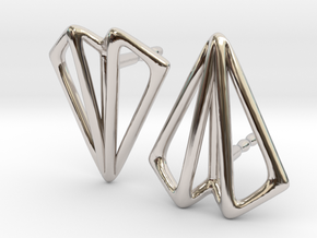 Paper Plane -earrings in Rhodium Plated Brass