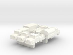 Big trucks in White Processed Versatile Plastic