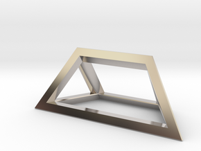 Material Sample - 'Impossible' Pyramid Puzzle Piec in Rhodium Plated Brass