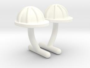 Hard Hat Cufflinks #1 in White Processed Versatile Plastic