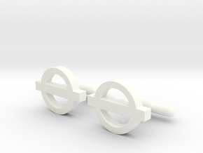 London Cufflinks in White Processed Versatile Plastic