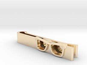 Hipster Glasses Tie-Clip Origin in 14K Yellow Gold