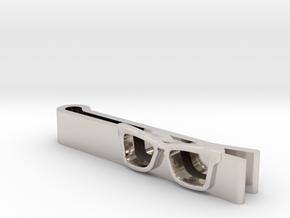 Hipster Glasses Tie-Clip Origin in Rhodium Plated Brass
