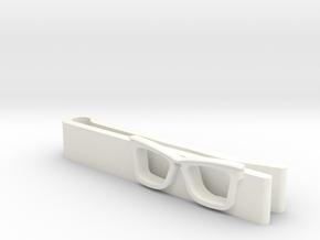 Hipster Glasses Tie-Clip Origin in White Processed Versatile Plastic
