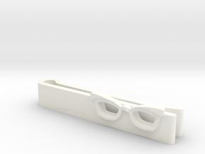 Hipster Glasses Tie-Clip Female in White Processed Versatile Plastic