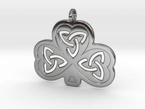 Celtic Shamrock in Fine Detail Polished Silver