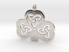Celtic Shamrock in Rhodium Plated Brass