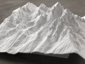 8'' Grand Tetons Terrain Model, Wyoming, USA in White Strong & Flexible