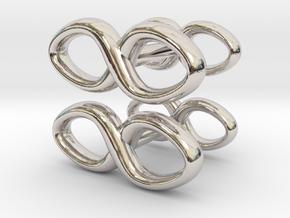 Cufflinks Infinity Symbol 2x in Rhodium Plated Brass